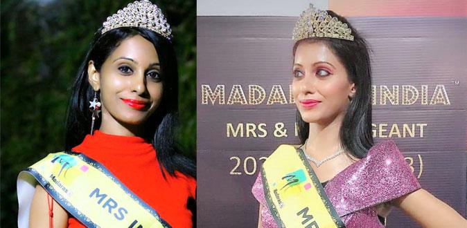 Shreyaa Sumi crowned as Mrs Madarase India 2020