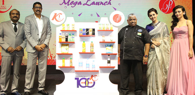 Nikki Galrani and Akshara Hassan in Kalimark new product launch