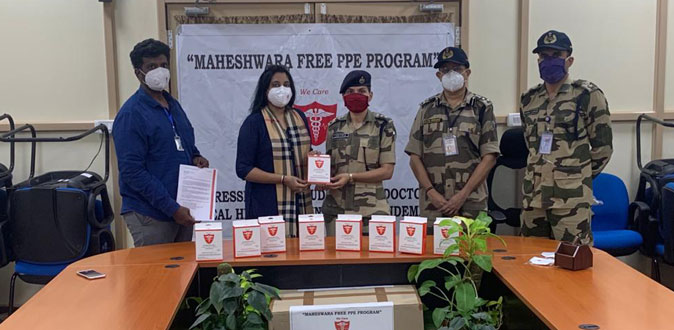 Maheshwara  Medical  College  & Hospital  Free PPE  kits &  N95  masks  to  CISF  personnel