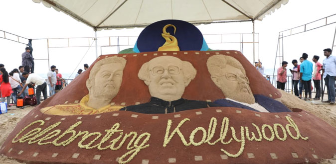Zee Tamil unveils sand sculpture in celebration of Kollywood